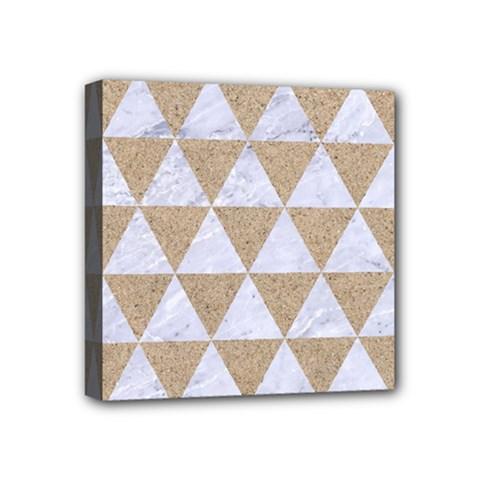 Triangle3 White Marble & Sand Mini Canvas 4  X 4
