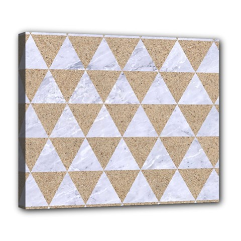 Triangle3 White Marble & Sand Deluxe Canvas 24  X 20   by trendistuff