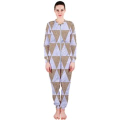 Triangle3 White Marble & Sand Onepiece Jumpsuit (ladies)  by trendistuff