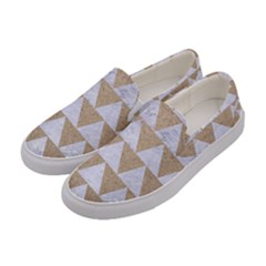Triangle2 White Marble & Sand Women s Canvas Slip Ons by trendistuff