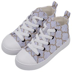 Tile1 White Marble & Sand (r) Kid s Mid Top Canvas Sneakers by trendistuff