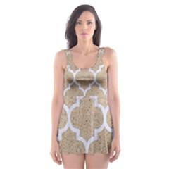 Tile1 White Marble & Sand Skater Dress Swimsuit by trendistuff
