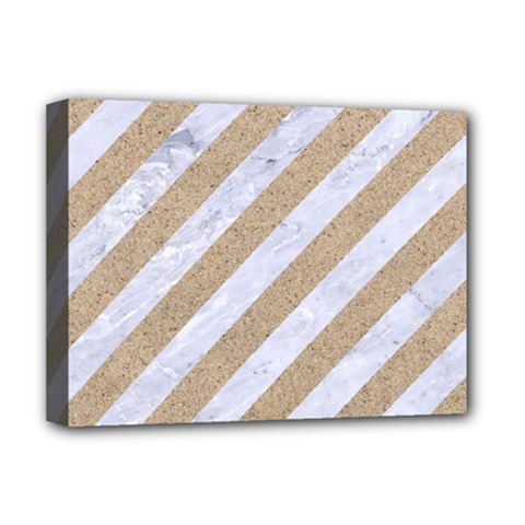 Stripes3 White Marble & Sand (r) Deluxe Canvas 16  X 12