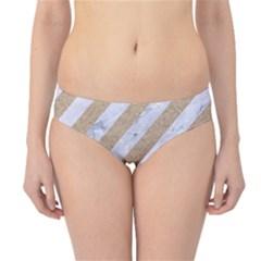 Stripes3 White Marble & Sand (r) Hipster Bikini Bottoms