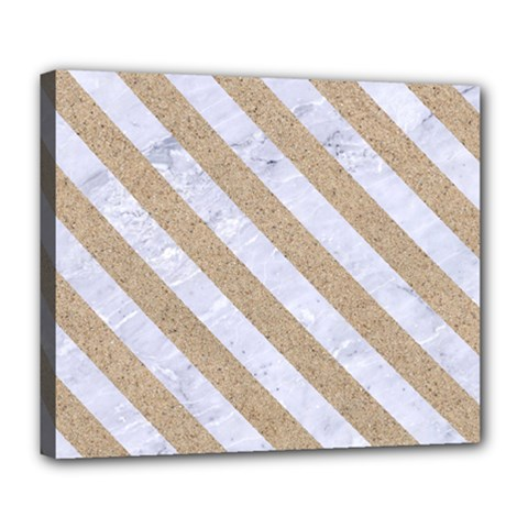 Stripes3 White Marble & Sand Deluxe Canvas 24  X 20   by trendistuff