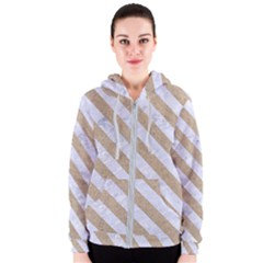 Stripes3 White Marble & Sand Women s Zipper Hoodie by trendistuff