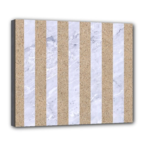 Stripes1 White Marble & Sand Deluxe Canvas 24  X 20   by trendistuff