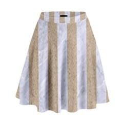 Stripes1 White Marble & Sand High Waist Skirt by trendistuff