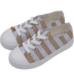 Stripes1 White Marble & Sand Kids  Low Top Canvas Sneakers by trendistuff