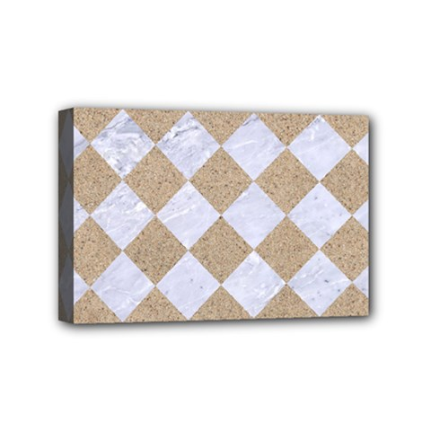 Square2 White Marble & Sand Mini Canvas 6  X 4  by trendistuff