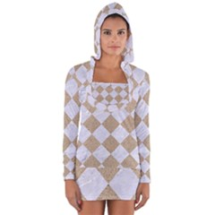 Square2 White Marble & Sand Long Sleeve Hooded T Shirt