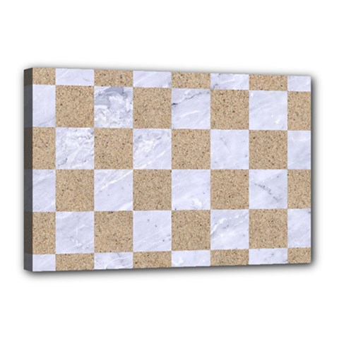 Square1 White Marble & Sand Canvas 18  X 12  by trendistuff