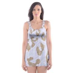 Skin5 White Marble & Sand Skater Dress Swimsuit by trendistuff