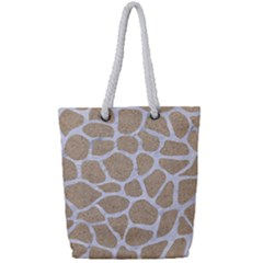 Skin1 White Marble & Sand (r) Full Print Rope Handle Tote (small) by trendistuff