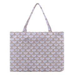 Scales3 White Marble & Sand (r) Medium Tote Bag by trendistuff