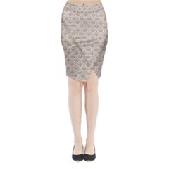 Scales2 White Marble & Sand Midi Wrap Pencil Skirt by trendistuff