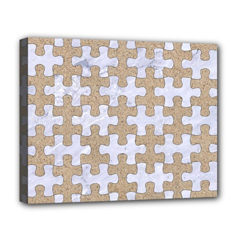 Puzzle1 White Marble & Sand Deluxe Canvas 20  X 16