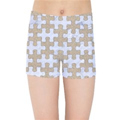 Puzzle1 White Marble & Sand Kids Sports Shorts