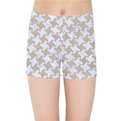 Houndstooth2 White Marble & Sand Kids Sports Shorts