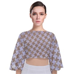 Houndstooth2 White Marble & Sand Tie Back Butterfly Sleeve Chiffon Top