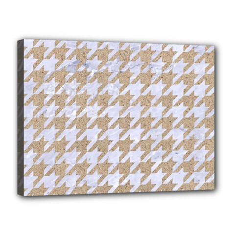 Houndstooth1 White Marble & Sand Canvas 16  X 12  by trendistuff