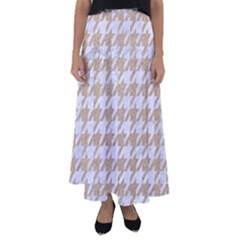 Houndstooth1 White Marble & Sand Flared Maxi Skirt