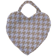 Houndstooth1 White Marble & Sand Giant Heart Shaped Tote by trendistuff