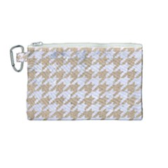 Houndstooth1 White Marble & Sand Canvas Cosmetic Bag (medium) by trendistuff