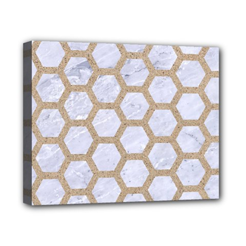 Hexagon2 White Marble & Sand (r) Canvas 10  X 8  by trendistuff