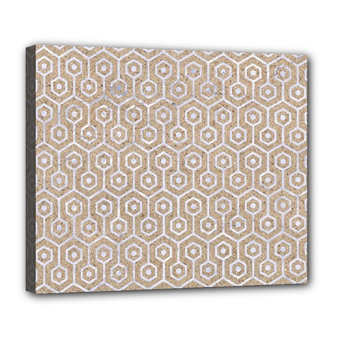 Hexagon1 White Marble & Sand Deluxe Canvas 24  X 20   by trendistuff