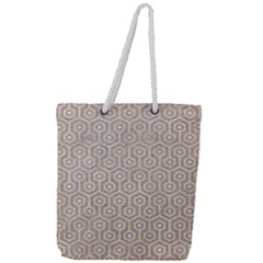 Hexagon1 White Marble & Sand Full Print Rope Handle Tote (large) by trendistuff