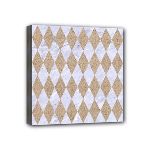 Diamond1 White Marble & Sand Mini Canvas 4  X 4