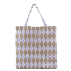 Diamond1 White Marble & Sand Grocery Tote Bag by trendistuff