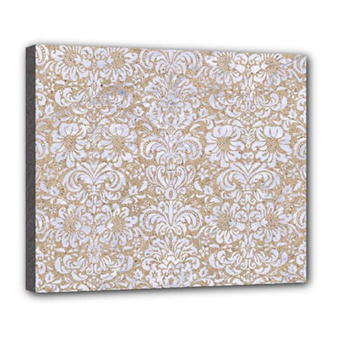 Damask2 White Marble & Sand Deluxe Canvas 24  X 20   by trendistuff