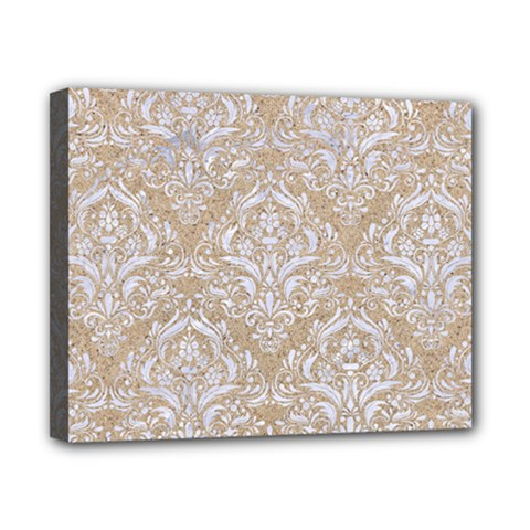 Damask1 White Marble & Sand Canvas 10  X 8  by trendistuff