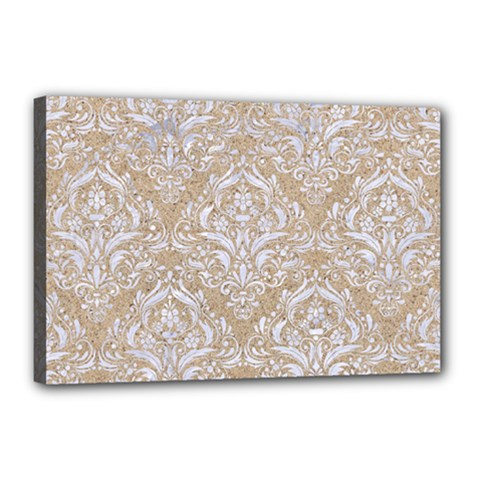 Damask1 White Marble & Sand Canvas 18  X 12  by trendistuff