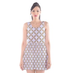 Circles3 White Marble & Sand (r) Scoop Neck Skater Dress by trendistuff