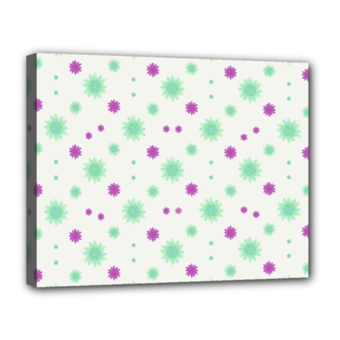Stars Motif Multicolored Pattern Print Canvas 14  X 11  by dflcprints