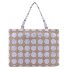 Circles1 White Marble & Sand Zipper Medium Tote Bag