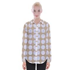 Circles1 White Marble & Sand Womens Long Sleeve Shirt
