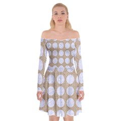 Circles1 White Marble & Sand Off Shoulder Skater Dress