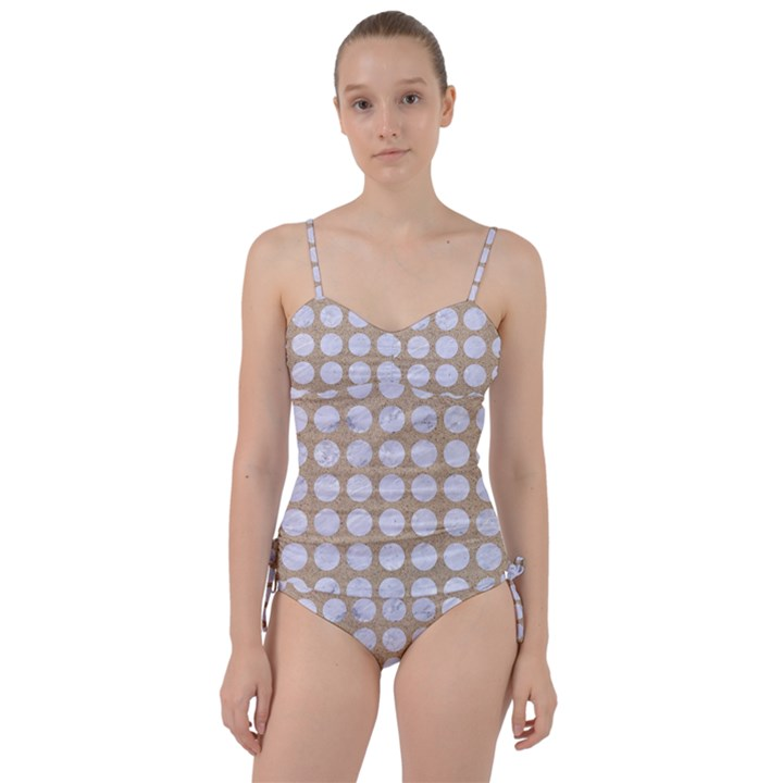 CIRCLES1 WHITE MARBLE & SAND Sweetheart Tankini Set