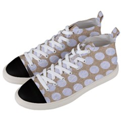 Circles1 White Marble & Sand Men s Mid Top Canvas Sneakers by trendistuff