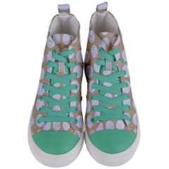 Circles1 White Marble & Sand Women s Mid Top Canvas Sneakers