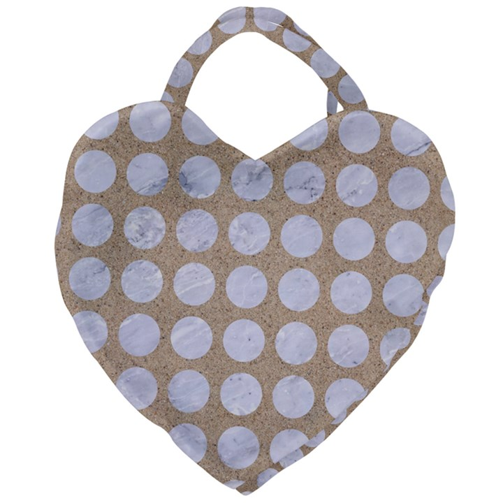 CIRCLES1 WHITE MARBLE & SAND Giant Heart Shaped Tote