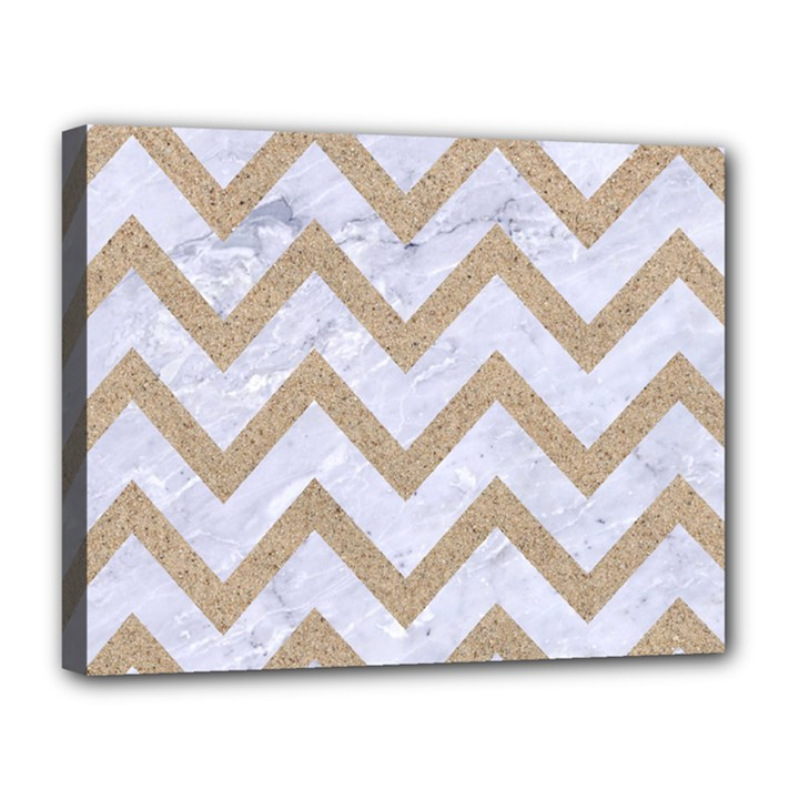 CHEVRON9 WHITE MARBLE & SAND (R) Canvas 14  x 11