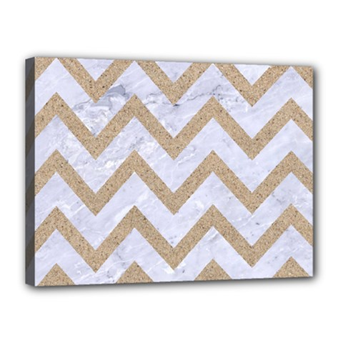 CHEVRON9 WHITE MARBLE & SAND (R) Canvas 16  x 12