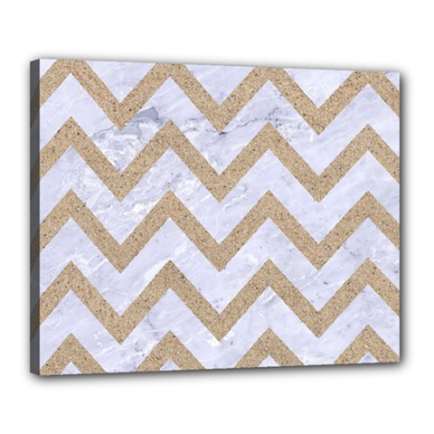 CHEVRON9 WHITE MARBLE & SAND (R) Canvas 20  x 16
