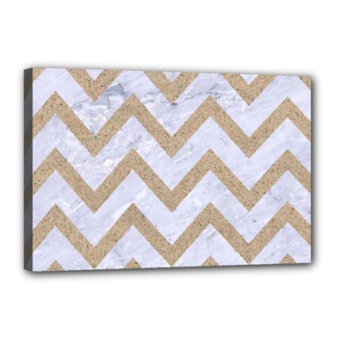 CHEVRON9 WHITE MARBLE & SAND (R) Canvas 18  x 12