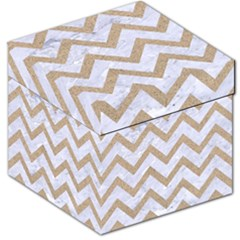 CHEVRON9 WHITE MARBLE & SAND (R) Storage Stool 12